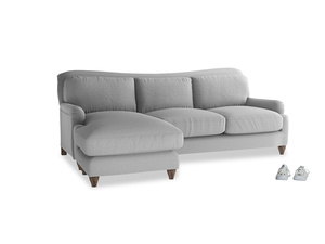XL Left Hand  Pavlova Chaise Sofa in Magnesium washed cotton linen
