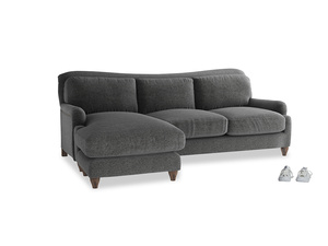 XL Left Hand  Pavlova Chaise Sofa in Shadow Grey wool