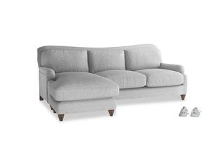 XL Left Hand  Pavlova Chaise Sofa in Mist cotton mix