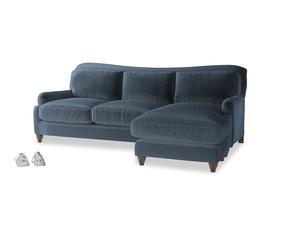 XL Right Hand  Pavlova Chaise Sofa in Liquorice Blue clever velvet