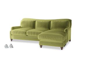 XL Right Hand  Pavlova Chaise Sofa in Olive plush velvet