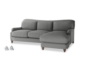 XL Right Hand  Pavlova Chaise Sofa in French Grey brushed cotton