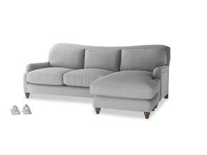 XL Right Hand  Pavlova Chaise Sofa in Magnesium washed cotton linen