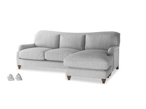 XL Right Hand  Pavlova Chaise Sofa in Mist cotton mix
