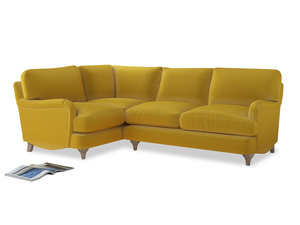 Large Left Hand Jonesy Corner Sofa in Bumblebee clever velvet