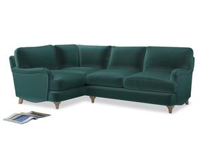 Large Left Hand Jonesy Corner Sofa in Real Teal clever velvet