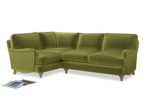 Large Left Hand Jonesy Corner Sofa in Olive plush velvet