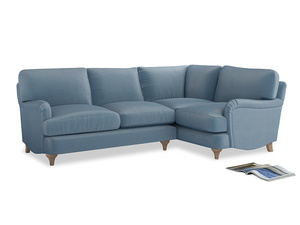 Large Right Hand Jonesy Corner Sofa in Chalky blue vintage velvet