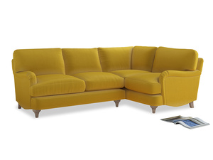 Large Right Hand Jonesy Corner Sofa in Bumblebee clever velvet