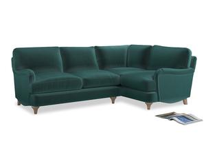 Large Right Hand Jonesy Corner Sofa in Real Teal clever velvet