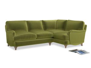 Large Right Hand Jonesy Corner Sofa in Olive plush velvet