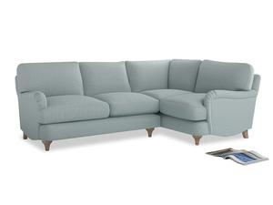 Large Right Hand Jonesy Corner Sofa in Duck Egg vintage linen