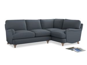 Large Right Hand Jonesy Corner Sofa in Blue Storm washed cotton linen