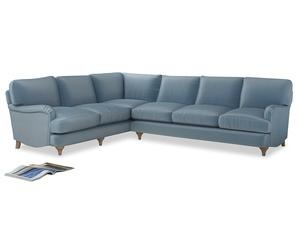 Xl Left Hand Jonesy Corner Sofa in Chalky blue vintage velvet