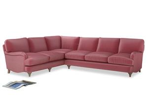 Xl Left Hand Jonesy Corner Sofa in Blushed pink vintage velvet