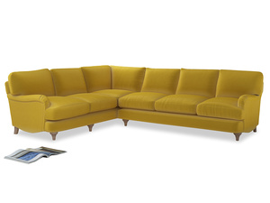 Xl Left Hand Jonesy Corner Sofa in Bumblebee clever velvet