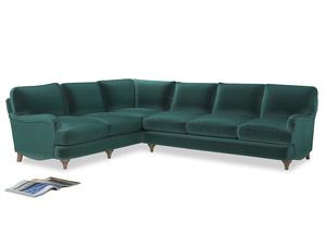 Xl Left Hand Jonesy Corner Sofa in Real Teal clever velvet