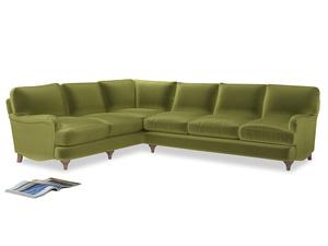 Xl Left Hand Jonesy Corner Sofa in Olive plush velvet