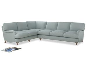 Xl Left Hand Jonesy Corner Sofa in Duck Egg vintage linen