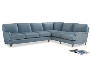 Xl Right Hand Jonesy Corner Sofa in Chalky blue vintage velvet