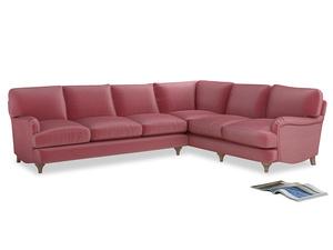 Xl Right Hand Jonesy Corner Sofa in Blushed pink vintage velvet