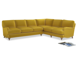 Xl Right Hand Jonesy Corner Sofa in Bumblebee clever velvet