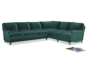 Xl Right Hand Jonesy Corner Sofa in Real Teal clever velvet
