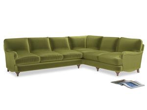 Xl Right Hand Jonesy Corner Sofa in Olive plush velvet