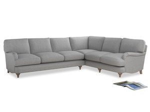 Xl Right Hand Jonesy Corner Sofa in Mist cotton mix