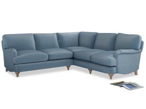 Even Sided Jonesy Corner Sofa in Chalky blue vintage velvet
