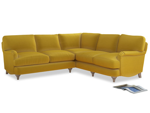 Even Sided Jonesy Corner Sofa in Bumblebee clever velvet