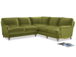 Even Sided Jonesy Corner Sofa in Olive plush velvet