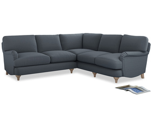 Even Sided Jonesy Corner Sofa in Blue Storm washed cotton linen