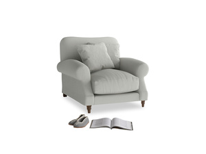 Crumpet Armchair in Mineral grey clever linen