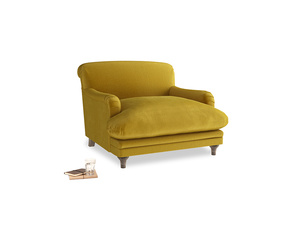 Pudding Love seat in Burnt yellow vintage velvet