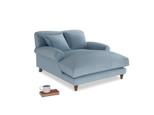 Crumpet Love Seat Chaise in Chalky blue vintage velvet