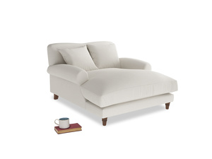 Crumpet Love Seat Chaise in Oyster white clever linen