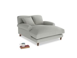 Crumpet Love Seat Chaise in Mineral grey clever linen