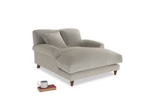 Crumpet Love Seat Chaise in Smoky Grey clever velvet