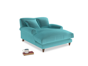 Crumpet Love Seat Chaise in Belize clever velvet