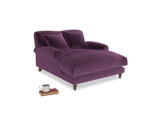 Crumpet Love Seat Chaise in Grape clever velvet