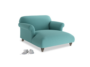 Soufflé Love Seat Chaise in Peacock brushed cotton
