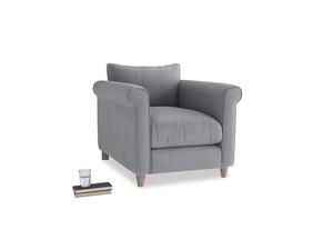 Weekender Armchair in Dove grey wool