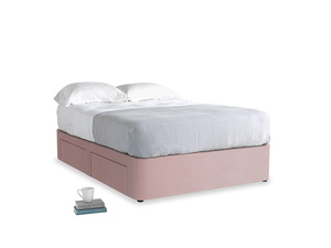 Double Tight Space Storage Bed in Chalky Pink vintage velvet