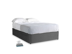 Double Tight Space Storage Bed in Scuttle grey vintage velvet