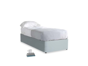 Single Store Storage Bed in Scandi blue clever cotton