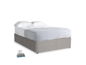 Double Store Storage Bed in Marl grey clever woolly fabric