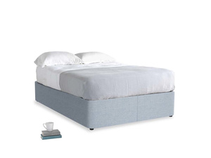 Double Store Storage Bed in Frost clever woolly fabric