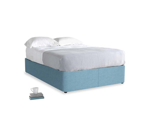 Double Store Storage Bed in Moroccan blue clever woolly fabric