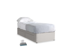 Single Tight Space Storage Bed in Lunar Grey washed cotton linen